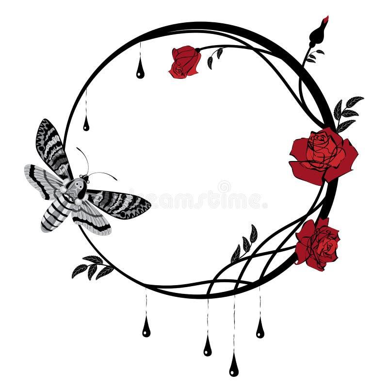 Rama z różami i motylem royalty ilustracja