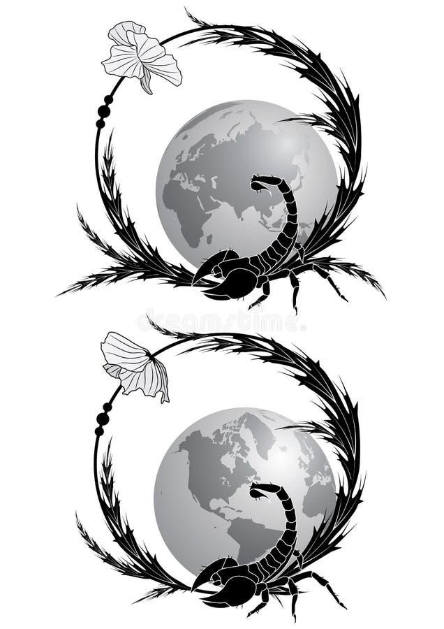 Rama z skorpionem i maczkiem ilustracja wektor