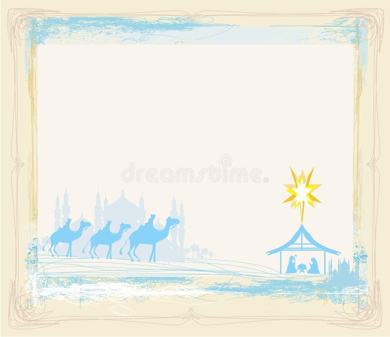 Rama z tradycyjną Chrześcijańską Bożenarodzeniową narodzenie jezusa sceną royalty ilustracja