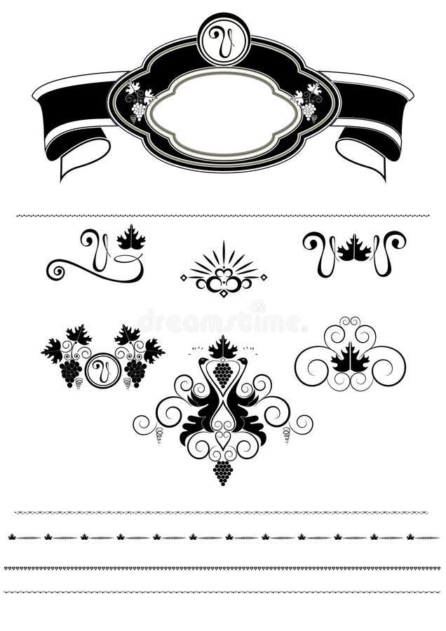 Rama z winogronami i wzór z ptakami ilustracja wektor