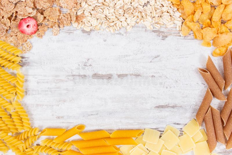 Rama zawiera węglowodany, kopaliny i żywienioniowego włókno naturalny jedzenie, zdrowy odżywiania pojęcie obraz stock