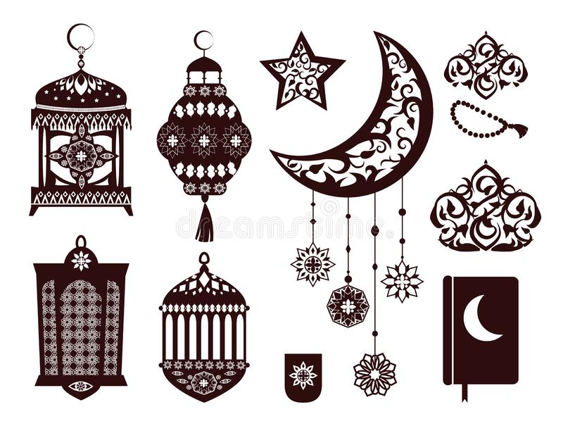 Ramada Kareem Religious Symbols nei colori neri royalty illustrazione gratis