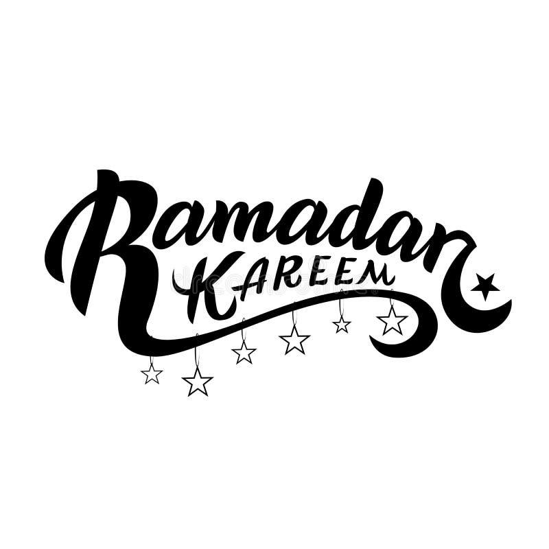 ramadan的kareem 与手字法的传染媒介印刷设计 能用为贺卡、印刷品材料和衣物 向量例证
