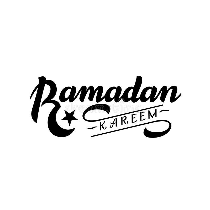 ramadan的kareem 与手字法的传染媒介印刷设计 能用为贺卡打印材料和衣物 向量例证