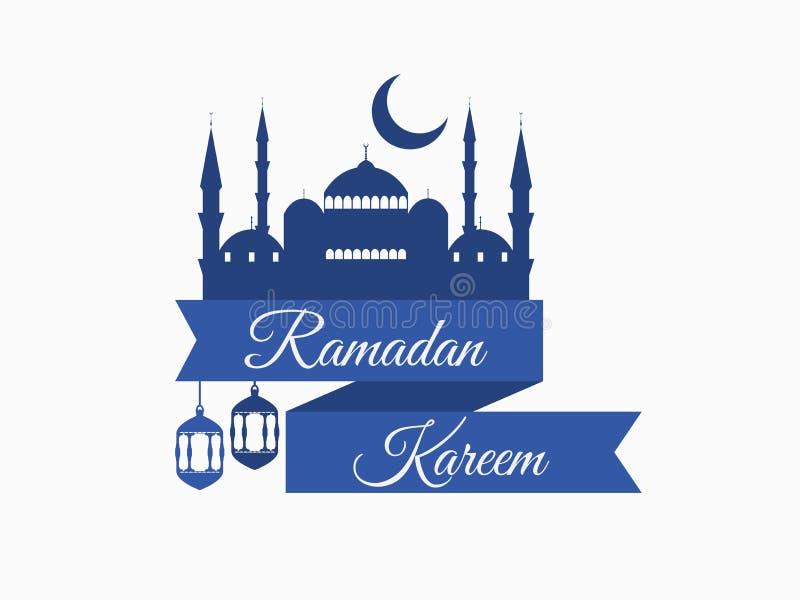 ramadan的kareem 与清真寺和月牙的丝带 灯笼和月亮 回教假日光 在白色背景的横幅 向量 向量例证