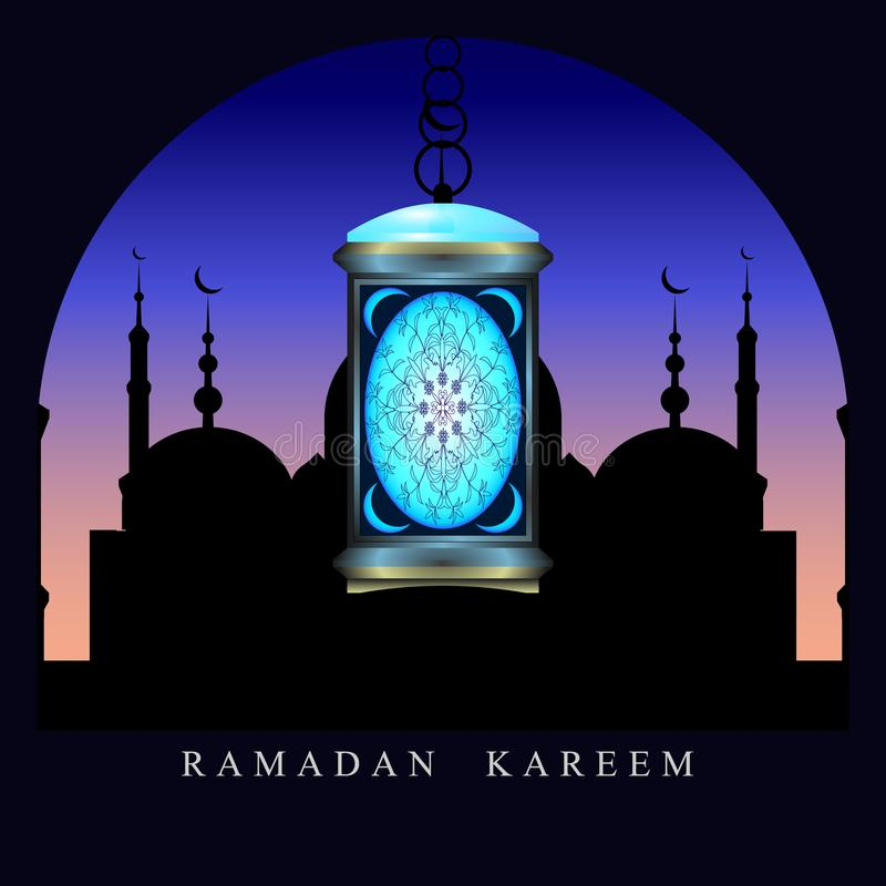 ramadan 夜空背景的清真寺,假日灯笼 库存例证
