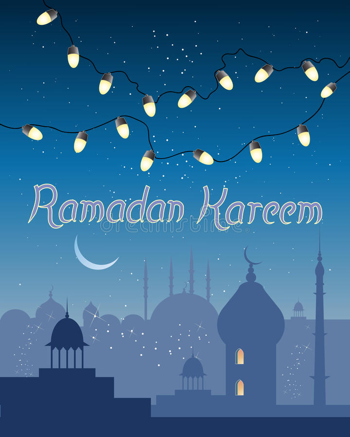 Ramadan abstract. An illustration of a ramadan greeting card with small golden lights over the skyline of an asian city. With islamic architecture under an royalty free illustration