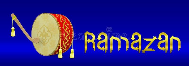 Ramadan bęben i typografia sztandaru ilustracja ilustracji
