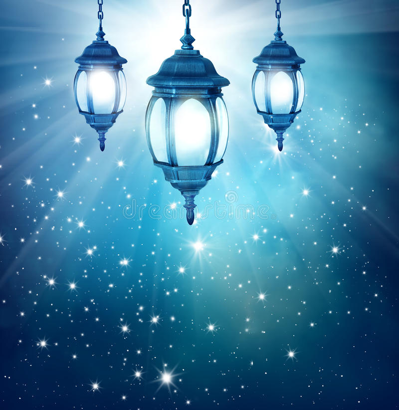 Ramadan background with arabic lantern stock photo