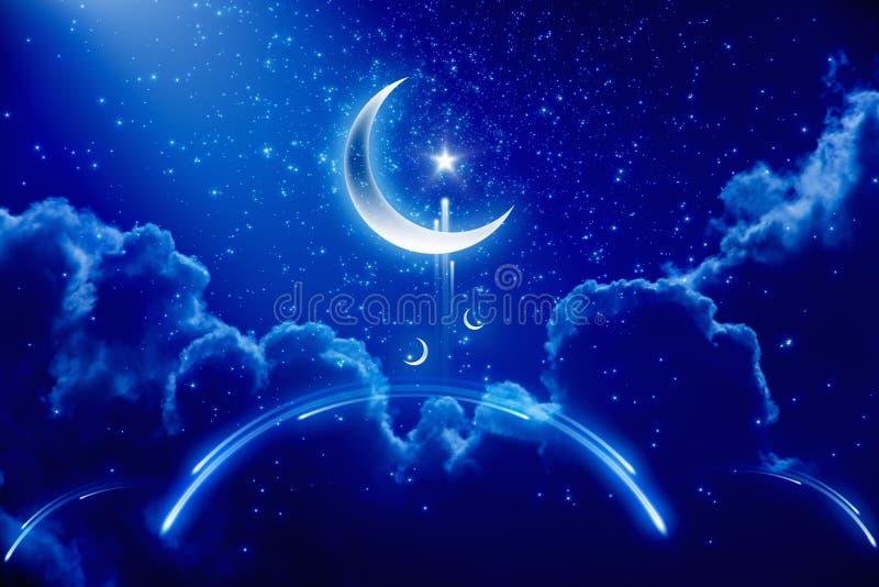 Ramadan background. Eid Mubarak background with moon and stars, holy month, Ramadan Kareem, abstract mosque royalty free illustration