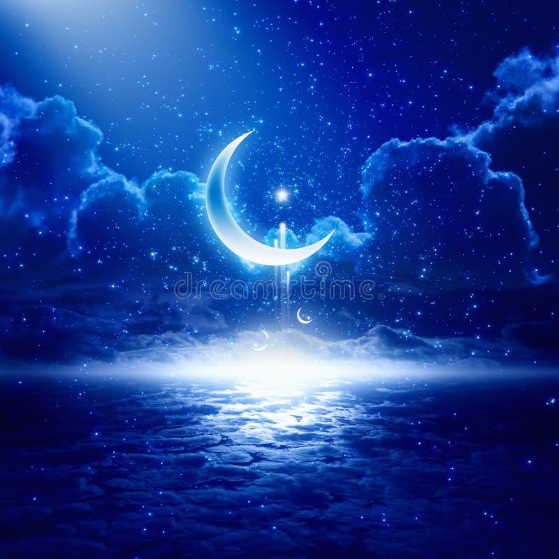 Ramadan background. Eid Mubarak background with shining moon and stars, holy month, Ramadan Kareem, glowing horizon vector illustration