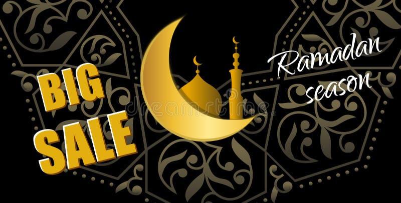 Ramadan Big Sale. Design horizontal web banner with beautiful cr vector illustration