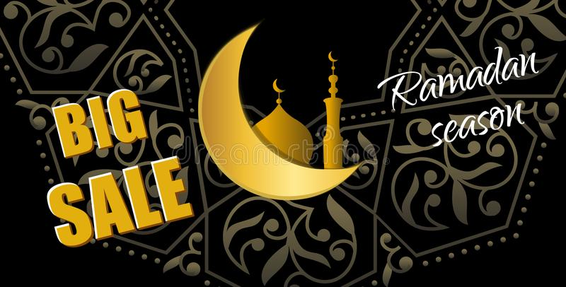 Ramadan Big Sale Horizontale Netzfahne des Designs mit schönem Cr vektor abbildung
