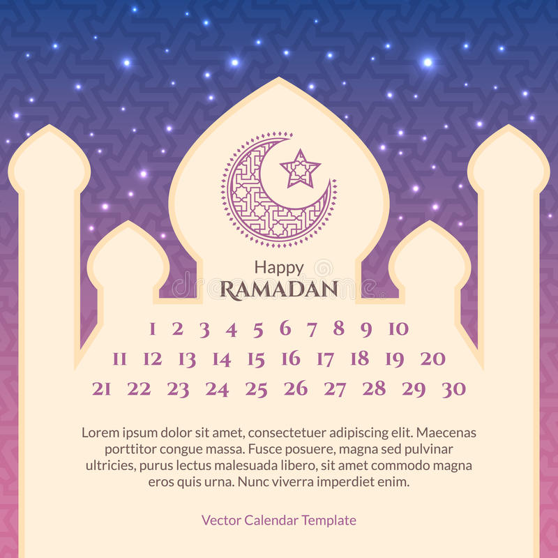 Ramadan Calendar Template Stock Vector Illustration Of Mubarak