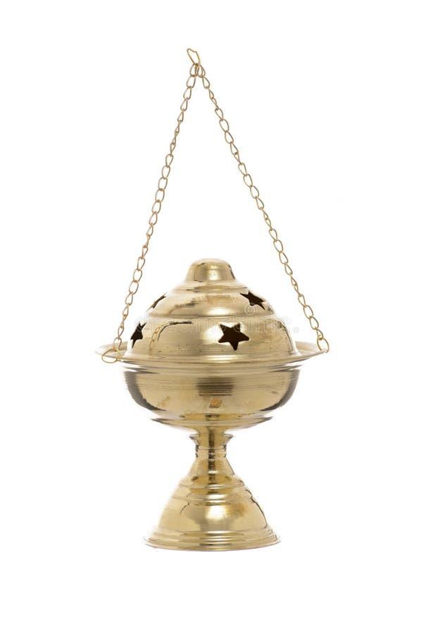 Ramadan Censer original dourado no branco imagens de stock royalty free