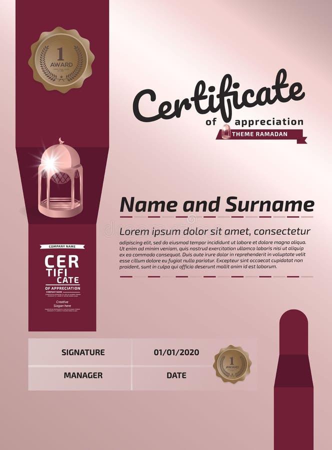 RAMADAN Certificate Of Appreciation Award-Malplaatje Illustratiecertificaat in A4-Groottepatroon royalty-vrije illustratie
