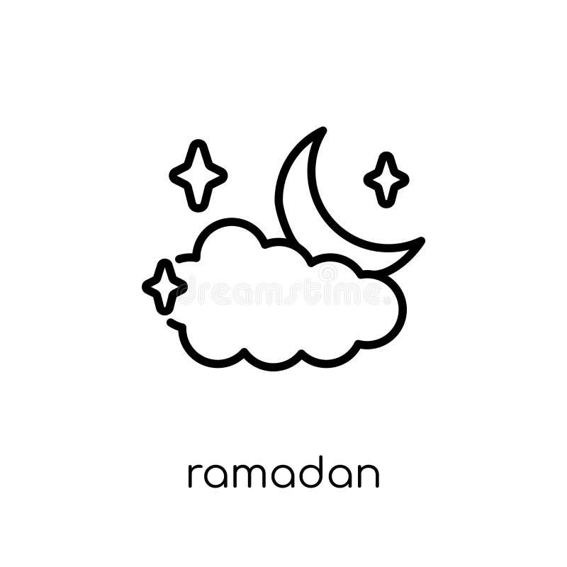 Ramadan Crescent Moon-pictogram In moderne vlakke lineaire vectorram royalty-vrije illustratie