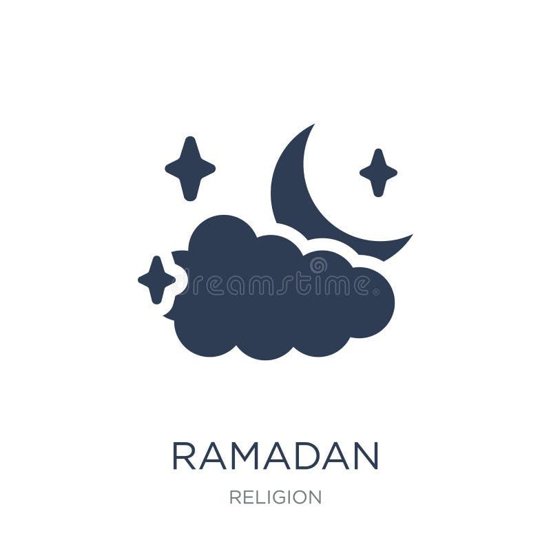 Ramadan Crescent Moon-pictogram In vlak vectorramadan crescent royalty-vrije illustratie