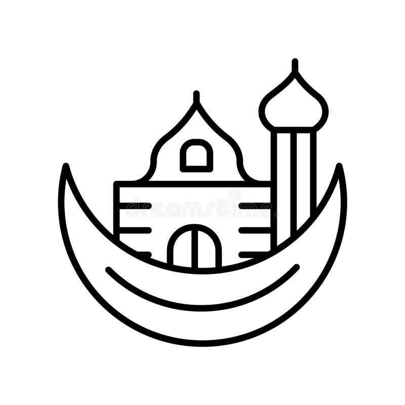 Ramadan Crescent Moon-pictogramvector op witte achtergrond, Ramadan Crescent Moon-teken, de dunne elementen van het lijnontwerp i vector illustratie