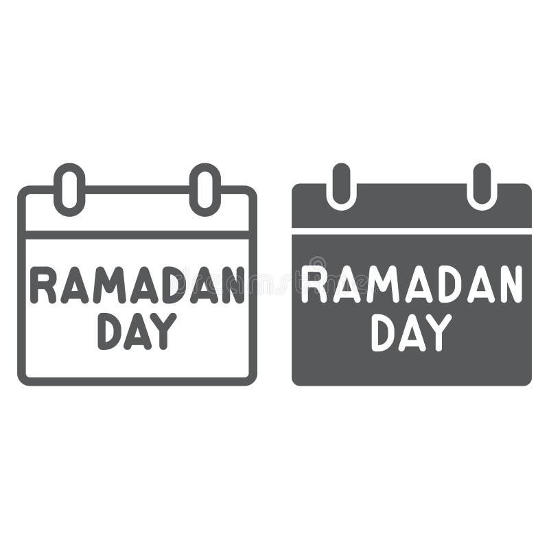 Ramadan-Datumsgrenze und Glyphikone, Datum und Islam, ramadam Tageszeichen, Vektorgrafik, ein lineares Muster auf einem weißen vektor abbildung