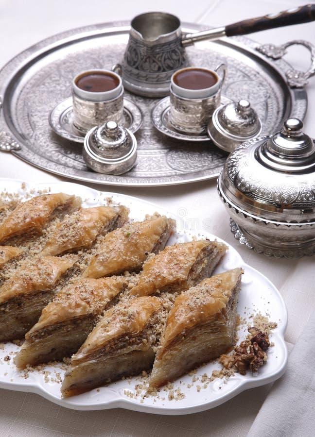Ramadan dessert baklava and turkish. Ramadan dessert: Baklava and turkish coffee royalty free stock image