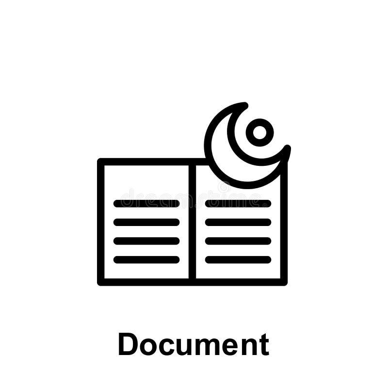Ramadan dokumentu konturu ikona Element Ramadan dnia ilustracji ikona Znaki i symbole mog? u?ywa? dla sieci, logo, mobilny app, ilustracja wektor