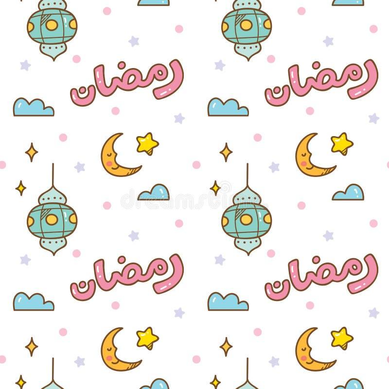 Ramadan doodle seamless pattern with `ramadan kareem` written in arabic. Can be use as ramadan greeting card vector illustration