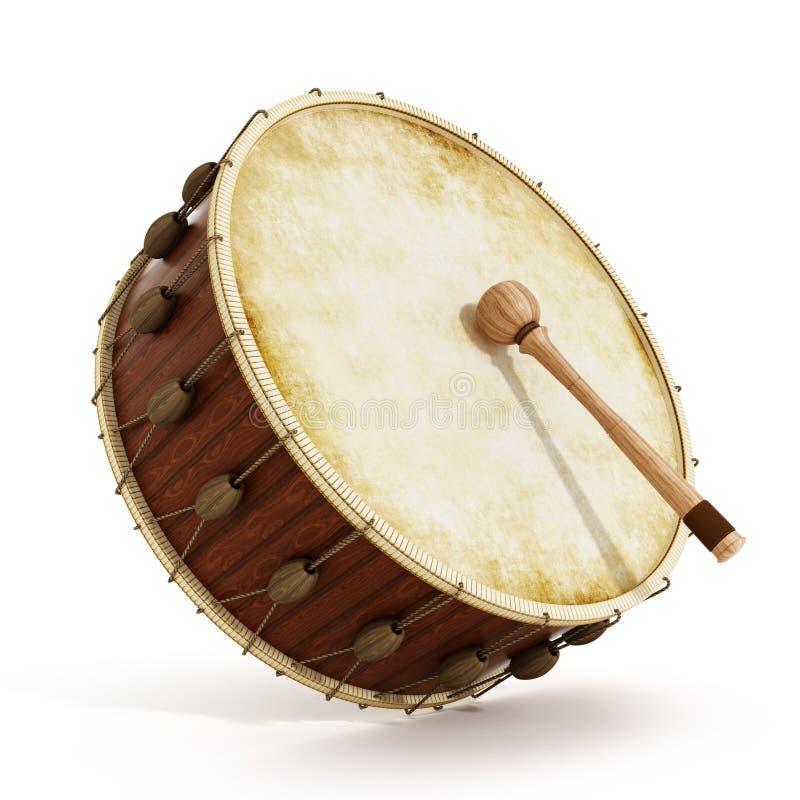 Ramadan drum and drumstick. 3D illustration stock illustration