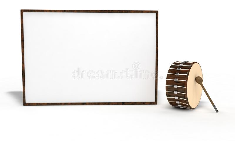 Ramadan drum and wood frema on the white, 3d render vector illustration