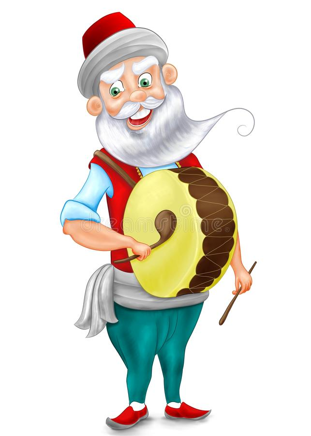Ramadan drummer is Ottoman character illustration vector illustration