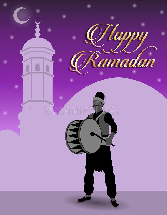 Ramadan Drummer y Ramadan Wishes feliz libre illustration