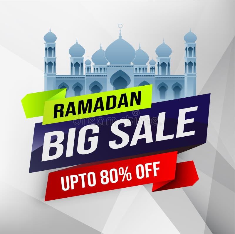 Ramadan du?a sprzeda?, sie? chodnikowiec, sztandaru plakatowy projekt z p??ksi??yc meczetem lub mieszkanie 80% z ofert na kwiecis ilustracji