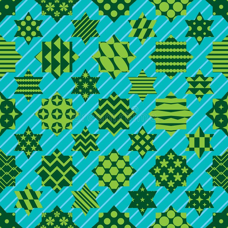 Ramadan-Element schnitt sechs nahtloses Muster der diagonalen Achsensymmetrie des Sternes lizenzfreie abbildung