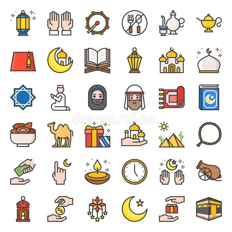 Ramadan et la célébration de Mubarak d'eid, appartement ont rempli icône d'ensemble illustration stock