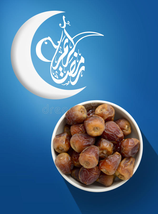 Ramadan Fasting Dates with Crescent on Blue royalty free stock image