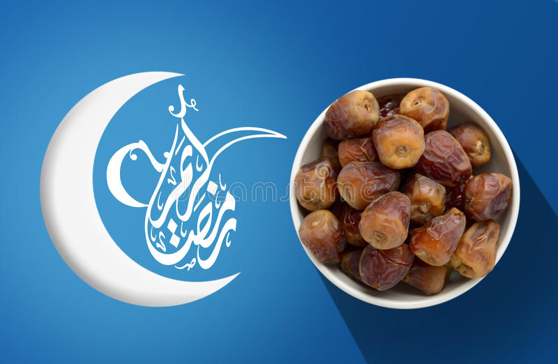 Ramadan Fasting Dates with Crescent over Blue stock photo