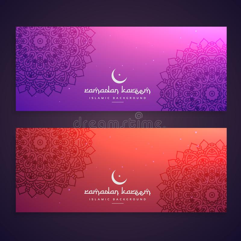 ramadan festiwalu etniczni sztandary ilustracja wektor
