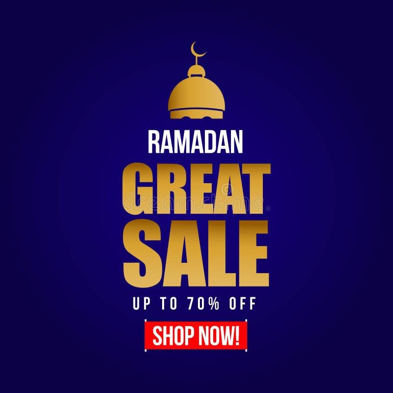 Ramadan Great Sale bis 70% weg von der Vektor-Schablonen-Entwurfs-Illustration stock abbildung