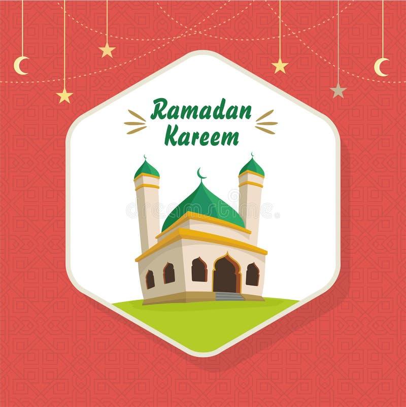 Ramadan Greeting Card con la mezquita de la historieta stock de ilustración