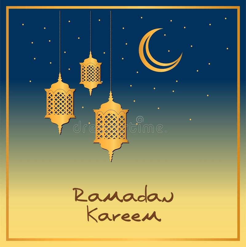 Ramadan greeting card design in gold and blue. Crescent moon with lanterns in the sky. vector illustration