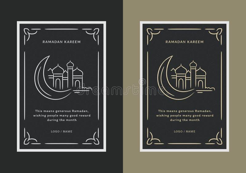 Ramadan-hälsning med moské och måne arkivbilder
