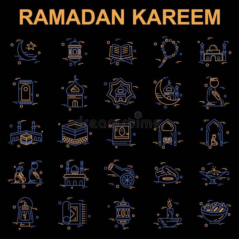 Ramadan ikona ustawiający wektor royalty ilustracja