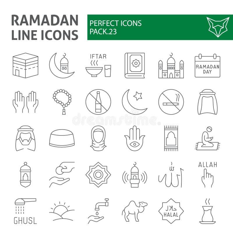 Ramadan ikony cienki kreskowy set, islamscy symbole kolekcja, wektor kreśli, logo ilustracje, muzułmańscy znaki liniowi ilustracja wektor