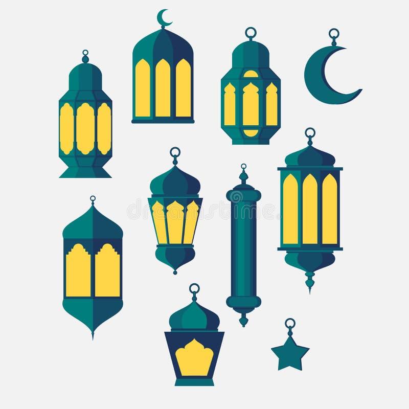 Ramadan Islamic Holy Nights, uppsättning för kultur för religion för lykta för temadesignbakgrund, helgonfest-, arab- och turk, royaltyfri illustrationer