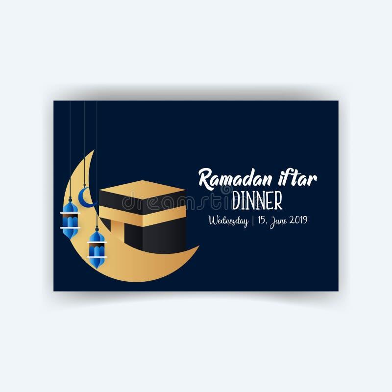 Ramadan Kareem świętuje kartkę z pozdrowieniami lub ilustrację z papierowym rozcięcie stylem z arabskimi projektów wzorami i lamp royalty ilustracja