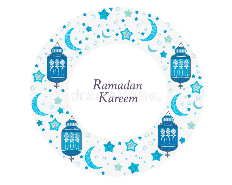 Ramadan Kareem με τους λαμπτήρες, τις ημισελήνους και τα αστέρια Παραδοσιακό φανάρι της μπλε διανυσματικής απεικόνισης πλαισίων κ απεικόνιση αποθεμάτων