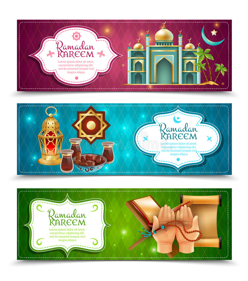 Ramadan Kareem 3 οριζόντια εμβλήματα καθορισμένα απεικόνιση αποθεμάτων