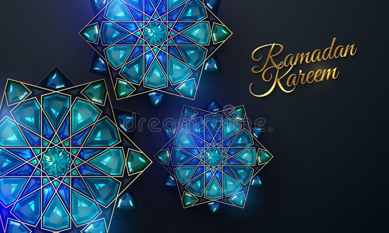 Ramadan Kareem Abstracte girihbloemen stock foto