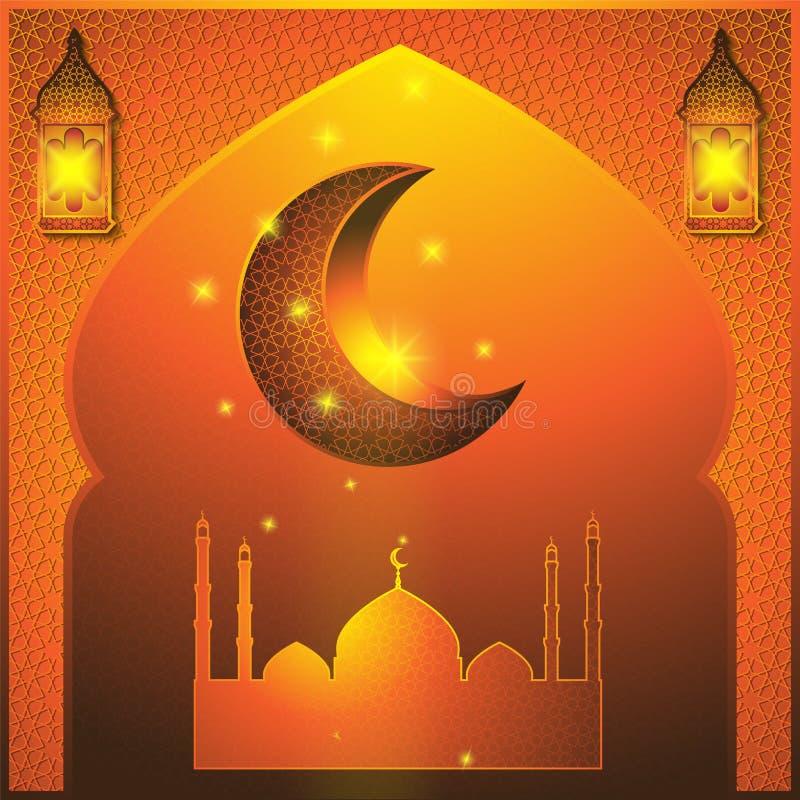 Ramadan Kareem abstrakta ilustracja Okno z islamskim meczetowym księżyc lampionem 8 karciany eps kartoteki powitanie zawiera? sza ilustracja wektor