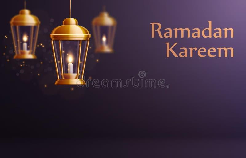 Ramadan kareem achtergrond gouden glownglantaarns stock illustratie